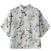 Stand Collar Bird Print Short Sleeve T-Shirt