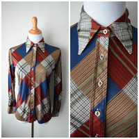 70s Button Up Plaid Shirt Blouse by Club Prive / Rust Red, Tan Brown, Royal Blue / Boho Hipster Patchwork Pattern, Disco Era - M/L