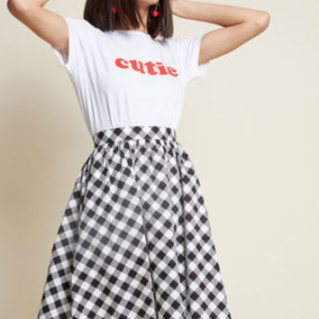 Charming Cotton Skirt with Pockets in Gingham