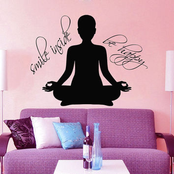 Yoga Wall Decal Quote Smile Inside Be Happy Vinyl Decals Yoga Studio Decor Meditation Sticker Home Interior Design Girls Bedroom Decor KY140