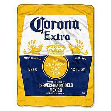 Corona Extra Bottle Label 46x60 Micro Raschel Plush Throw