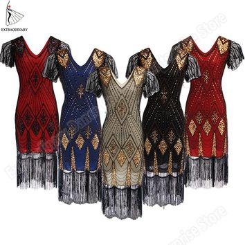 Great Gatsby Dress Women 1920 s Vintage Sequin Art Deco Double Flapper Dresses Vintage V Neck Party Dress Embellished Fringed