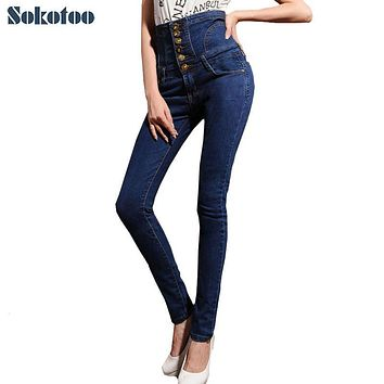 Women's high waist jeans skinny elastic denim pencil pants Plus large size buttons long trousers