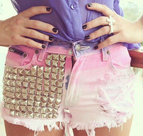 Pink Ombre Dip Dyed Studded Destroyed Shorts