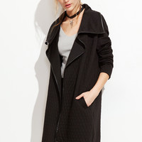 Black Faux Leather Binding Drape Collar Quilted Coat | MakeMeChic.COM