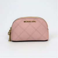 NEW Michael Kors Glamour Pink Saffiano Leather Small Cosmetics Case