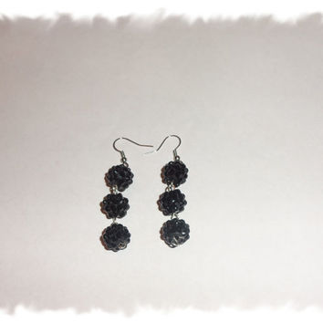 Black Shamballa Rhinestone Pave Dangle Earrings Jewelry