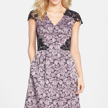 Women's Adrianna Papell Jacquard & Lace Fit & Flare Dress