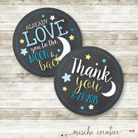 Love You to the Moon and Back Baby Shower DIY Favor and Thank You Tags