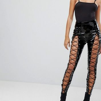 Missguided Londunn Vinyl Lace Up Trouser at asos.com