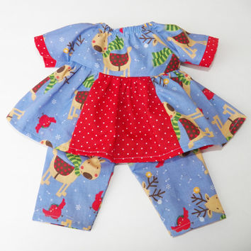 """bitty baby clothes, doll girl 15"""" or twin, Christmas Blue Red Dress, Reindeer, Pants, mix & match, new, american made by adorabledolldesigns"""