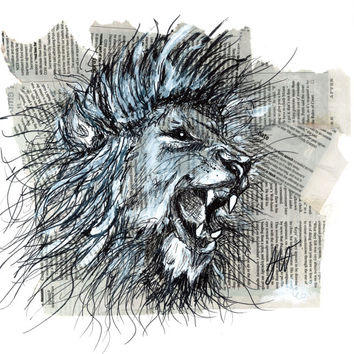 Lion King Ink Drawing Mixed Media 8x10 Matted Art Print 5x7 Wall Art Animal Paintings