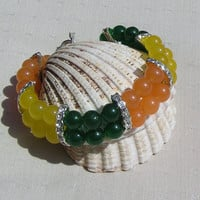 "Orange, Green and Yellow Agate Gemstone Crystal Bracelet - ""Oranges & Lemons"""