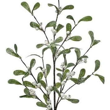 "Glittered Artificial Mistletoe with White Berries - 30"" Tall"