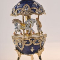 Blue Faberge Egg with Horse Carousel