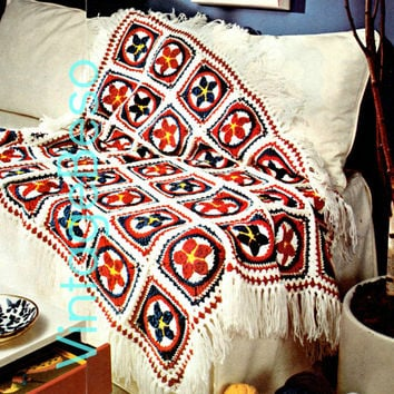 Patriotic Star Motif Afghan CROCHET 1970s Vintage Crochet Pattern great blanket for bed or to snug up Instant Download Pdf Americana USA
