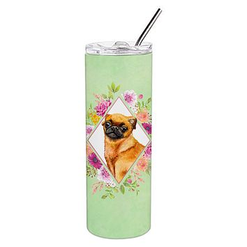 Brabant Griffon Green Flowers Double Walled Stainless Steel 20 oz Skinny Tumbler CK4345TBL20