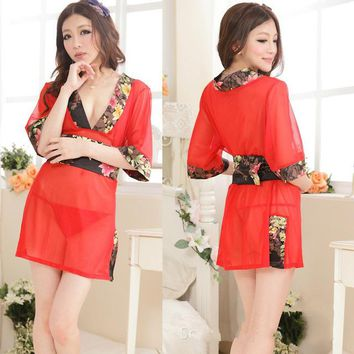 New Sexy Red Transparent Japanese Kimono Robe Sexy Lingerie Nightgown Women Girls Silk Kimono Robes Nightgown Sleepwear Bathrobe