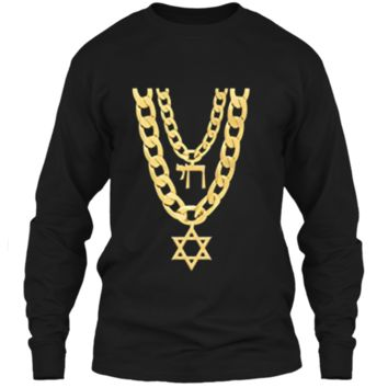 Jew Chai Bling Chain Hanukkah Festival Of Lights Jew  LS Ultra Cotton Tshirt