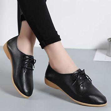 Women Flats Soft Genuine Leather Shoes Fashion Casual Loafers Point Toe Large Size Ladies Shoes Lace-Up Ballet Shoes New ABT700