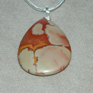 70ct. Multi Color Stone, Semi Precious, Agate, Pendant, Necklace, Teardrop, Natural Stone, 153-15