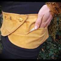 Atlas: Pleiades Pocket Belt. Tan faux suede with gold star buttons