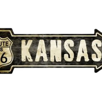 Smart Blonde Outdoor Decor Vintage Route 66 Kansas Novelty Metal Arrow Sign A-131
