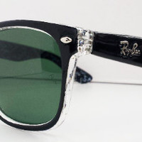 Ray Ban RB2140 Wayfarer Sunglasses Black and White Rare Print Rayban from Sunglasses For All