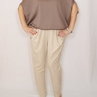 Taupe top women Loose fit sweater Batwing sleeve Office fashion