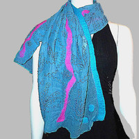 Nuno Felt Shawl/Scarf , metal thread applique, Silk Chiffon