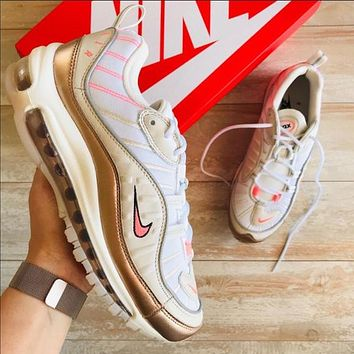 Nike Air Max 98 Women's Matte Smoky Purple Bullet Cushion Running Shoes White Gold