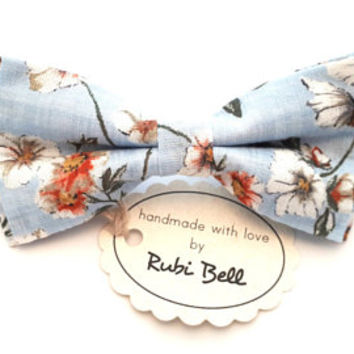 Light Blue Floral Bow Tie - Mens Bow Tie - Groomsman Bow Tie - Pre Tied Bow Tie - Wedding Tie - Pocket Square - Bow Tie For Men
