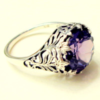 Alexandrite Ring, Russian Alexandrite, Color Change Stone, Victorian Style Ring, Vintage Setting, Sterlilng Silver Ring
