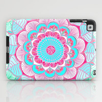 Tropical Bloom - floral doodle in pink, mint, peach, aqua, white iPad Case by micklyn