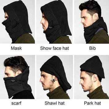 TSAI Winter Warm Fleece Full Face Cycling Mask Windproof Double Layer Riding Hat Multifunction Outdoor Sport Cap For Men & Women