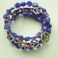 Blue Millifiori Glass Beads/ Silver Peace Charms/ Beaded Wrap Memory wire bracelet/ Bohemian Style/ Yoga/ Hippie Flower Power