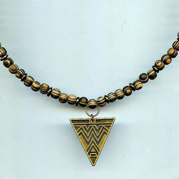 Men's Surfer Beaded Necklace Tribal jewelry Natural Wooden Beads w Geometric Aztec Looking Antique Brass Arrow Pendant TierraCast Spacers