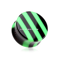 A Pair of Brilliant Green Stripes Double Flared Ear Gauge Plug