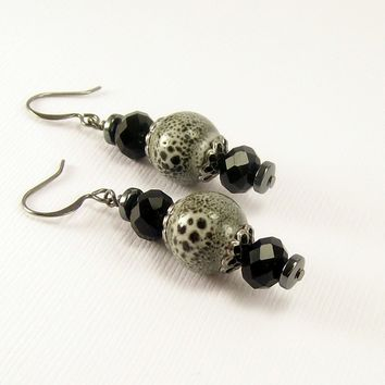 Ceramic and Crystal Earrings in Black and Grey