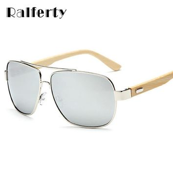 Ralferty Bamboo Sunglasses with Mirror Lenses