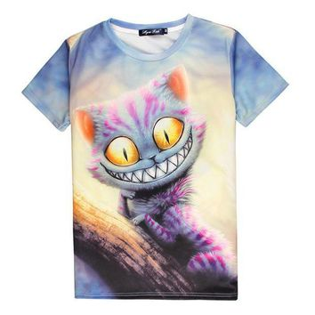 CREY6F Hot Cheshire Cat 3D Print T-shirt Smile Kitty Cotton Unisex Costume Summer Tee Alice in Wonderland Shirts Casual Homme Tops