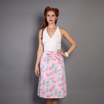 70s The LILLY PULITZER Wrap SKIRT / Pink & Green Floral, Large Pocket, xs - m