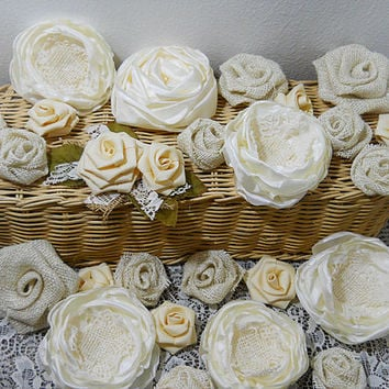 FREE Shipping! Bulk SALE Lot of 25 Burlap & Fabric Flowers, deep ivory tones, diy weddings, mason jars, bouquet making. Ready to Ship!