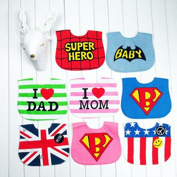 HOT Infant Baby full dress style bibs Kid Washable Bib Waterproof bib children accessories Seaman Super man bibs
