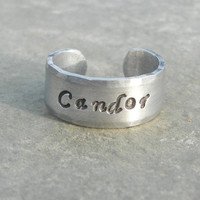Hand Stamped Ring Divergent Faction Candor Adjustable Cuff Ring