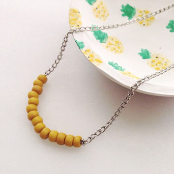 Yellow Beaded Necklace/Simple Beaded Necklace/Mustard Yellow Necklace
