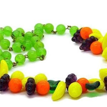 Vintage Glass Fruit Green Bakelite Bead Necklace