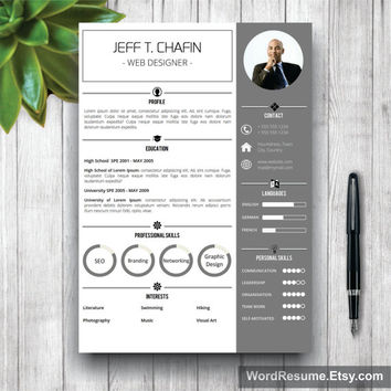 Resume Template Modern, Cover Letter Word, CV Template, Modern Professional Resume Template Design, DIY Template Instant Download