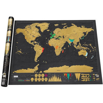 Deluxe Scratch World Map 82.5 x 59.5cm Black Map Home Decor