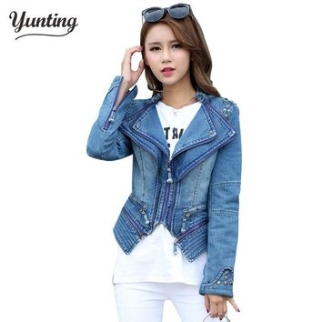 Trendy Fashion Star Jeans Women Punk Spike Studded Shrug Shoulder Denim Cropped VINTAGE Jacket Coat Womens winter jackets and coats AT_94_13